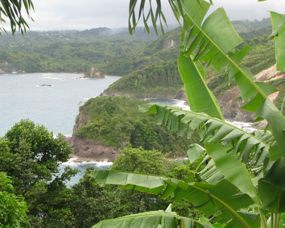 view of Calibishie coastline from a hill