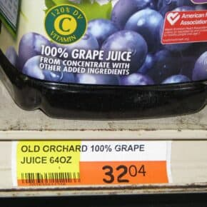 Prices in dominica are high for Old Orchard grape juice: EC$32.04