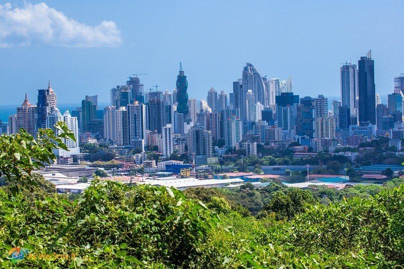 view of Panama City skyline from Parque Metropolitano