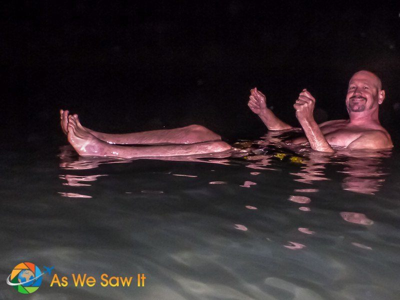 it's floating, not swimming, in the Dead Sea