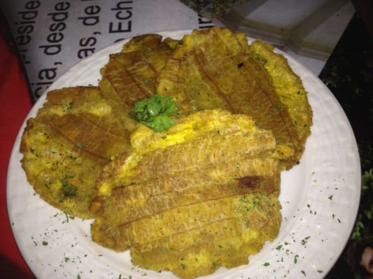 Latin American fried green plantains, also known as Tostones or Patacones