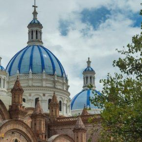 blue domes of Cuenca's Cathedral of the Immaculate Conception