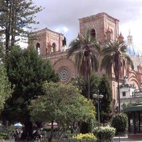 View of the church's blue domes in Parque Calderon Cuenca Ecuador