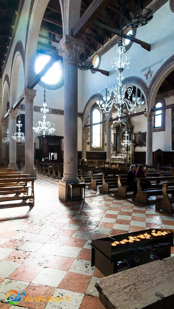 interior of an old church in the glass island Murano