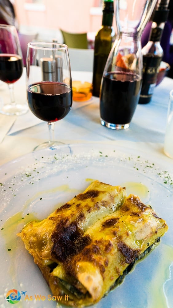red wine and the meat lasagne in Murano