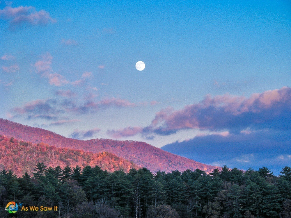 Full moon over Cades Cove, Tennessee
