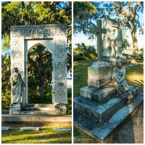 carved headstones at Bonaventure Cemetery