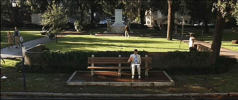 Forrest Gump sitting on Savannah park bench