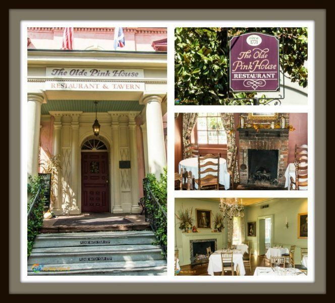 collage of images of Olde Pink House, Savannah