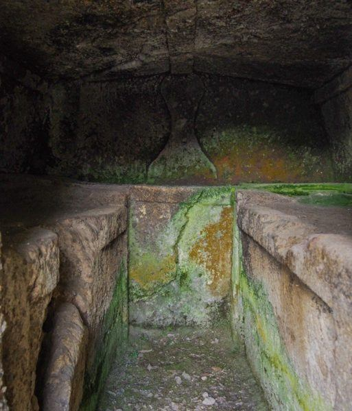 stone beds for the dead in an Etruscan tomb