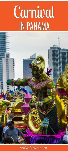 Purple and gold statue of a person on a parade float at Carnival in Panama