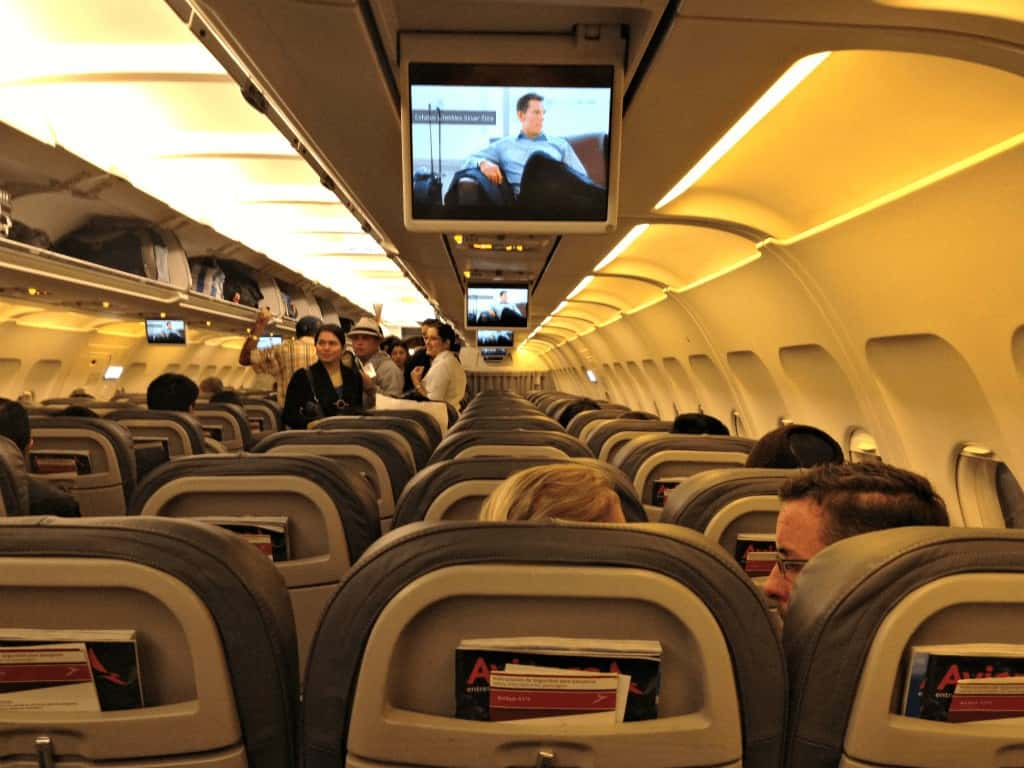 Stay healthy while flying by using an airplane aisle like this to walk around.