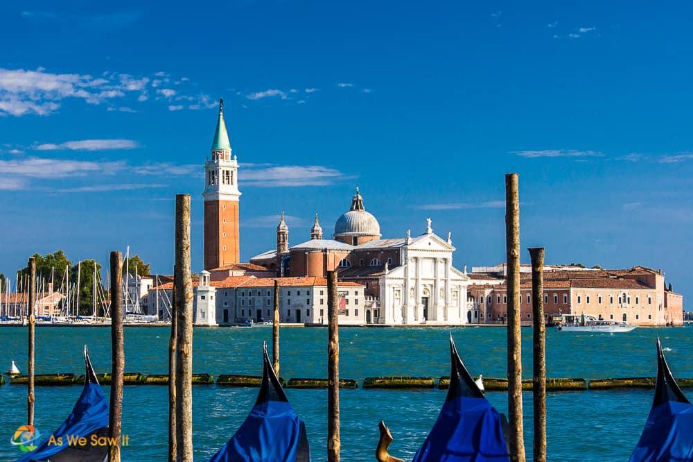 Gondolas and skyline of St Mark's Square Venice Italy