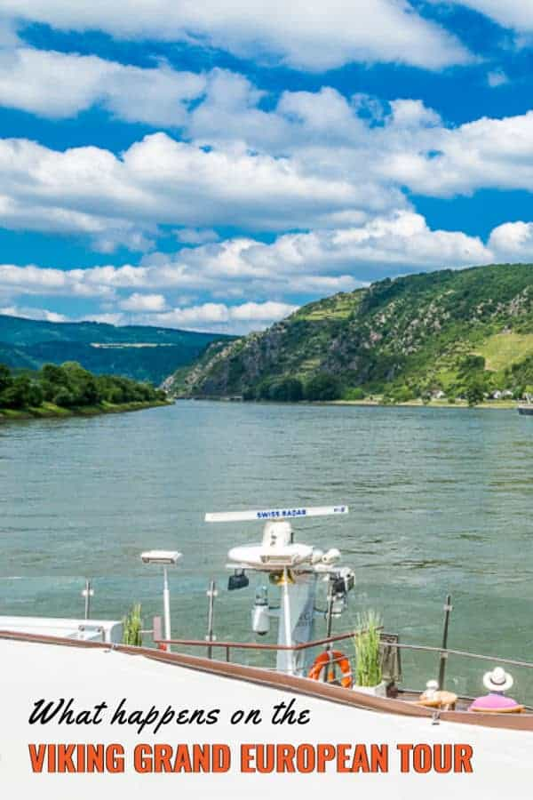 Danube River with cruise ship prow in foreground. Text overlay says what happens on the Vikine Grand European Tour