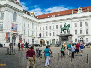 Tourists in a square in Vienna, Austria