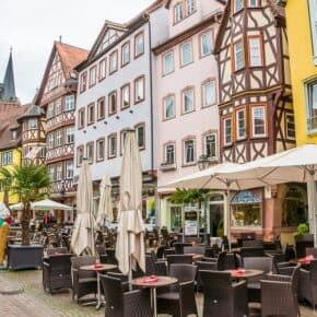 Table-lined pedestrian street in Wertheim Germany