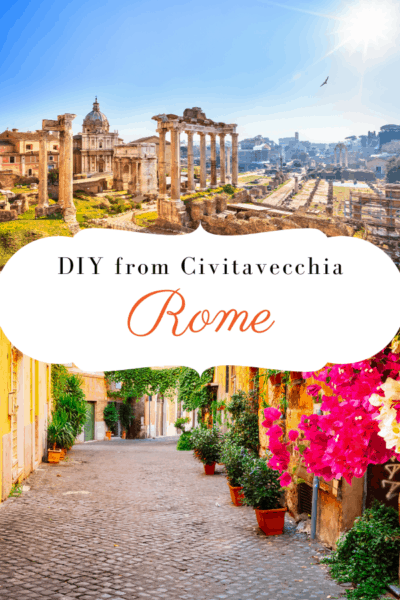 The forum and a roman street text says DIY from Civitavecchia Rome