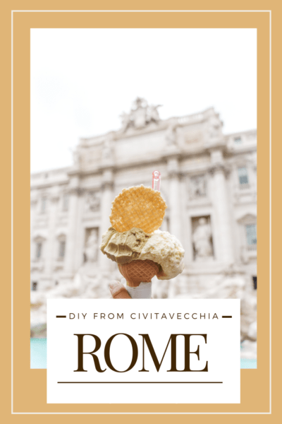 gelato in a cone text says DIY from Civitavecchia Rome