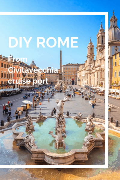 Trevi fountian text says DIY rome from Civitavecchia