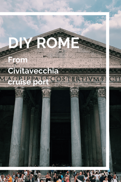 Pantheon text says DIY rome from Civitavecchia