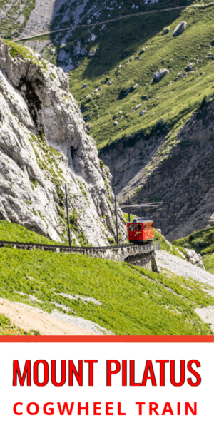 Red train goes down the track on Mount Pilatus. Text block says Mount Pilatus cogwheel train
