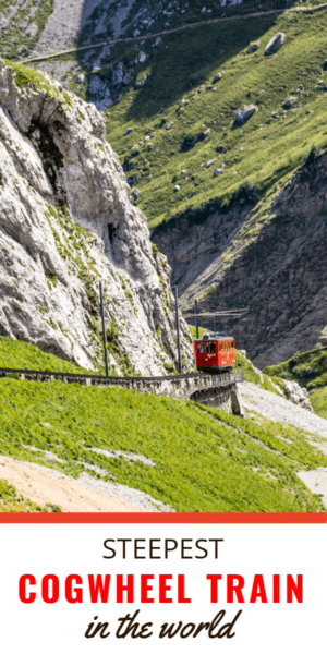 Red train goes down the track on Mount Pilatus. Text block says Steepest cogwheel train in the world