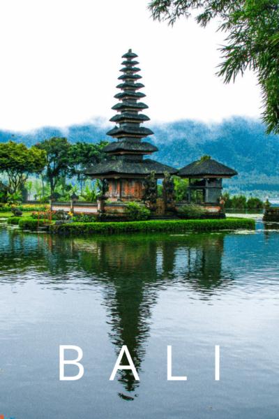 Balinese temple Ulun Danu Bratan in Bedugul, Indonesia. Text overlay says BALI.