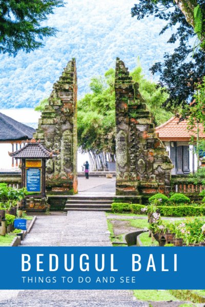 A split gate at Ulun Danu Bratan. Text overlay says Bedugul Bali what to do and see