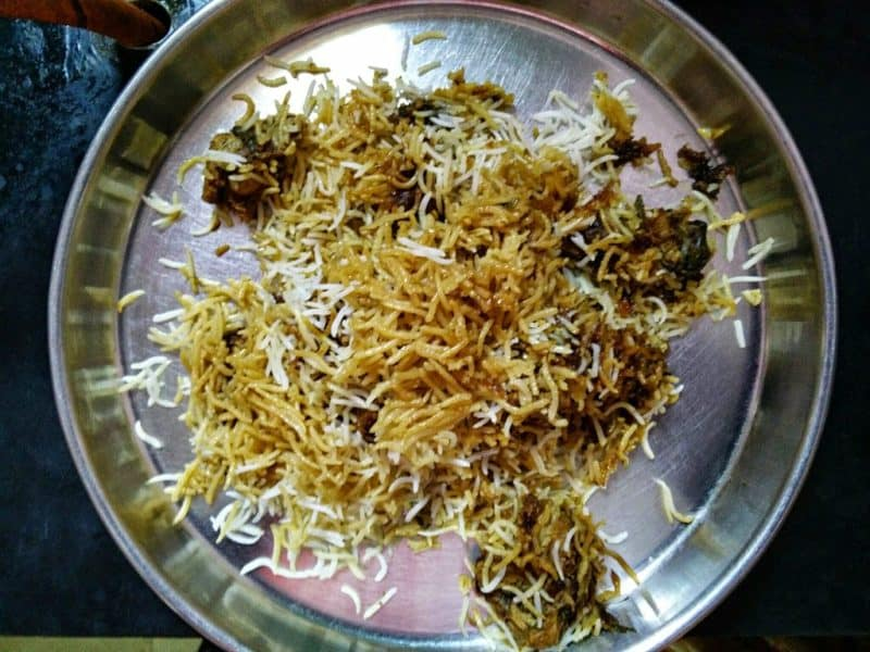 Tray of Hyderabad Biryani