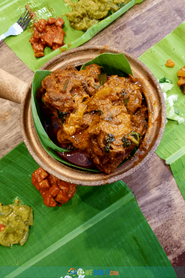 dish of Indian food on banana leaves