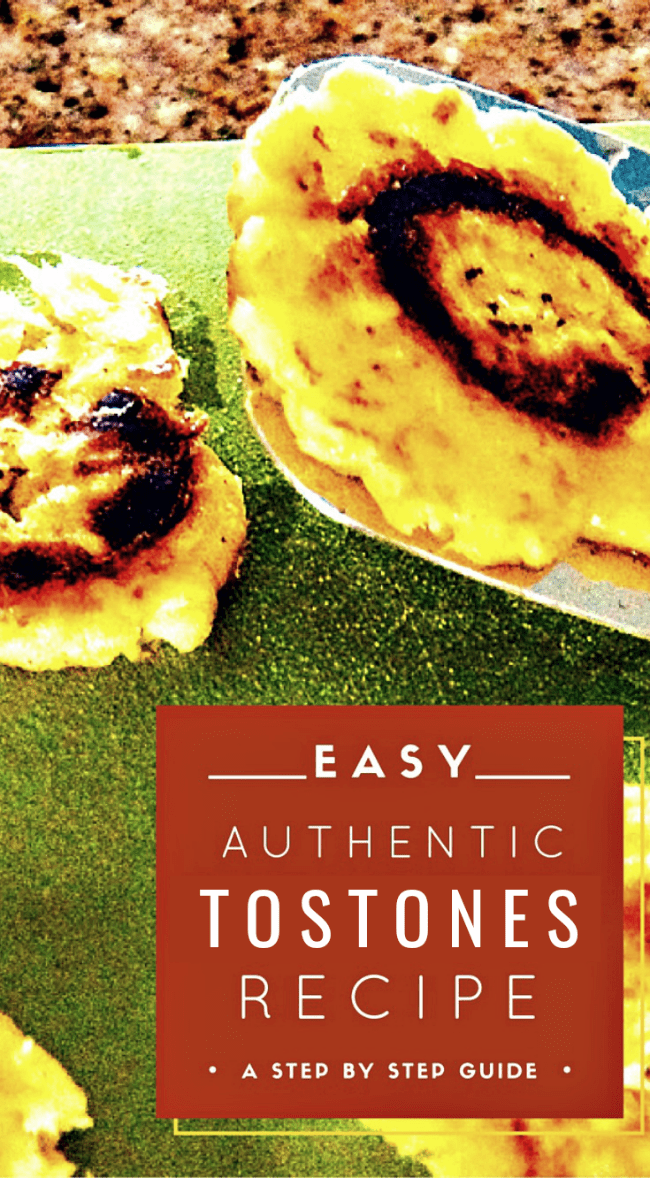 metal spatula holding freshly fried plantain chip - text overlay says easy authentic tostones recipe, a step by step guide.