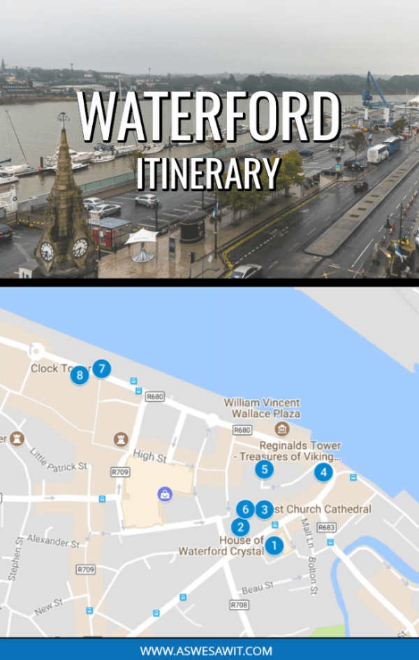 2-photo collage of the Waterford waterfront with a text overlay that says Waterford Itinerary. Below is a map of the attractions that are found in the Viking Triangle.