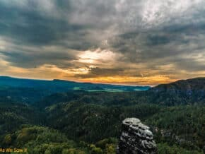 sunset at bohemian switzerland national park
