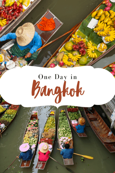 floating market in bangkok thailand text says one day in bangkok