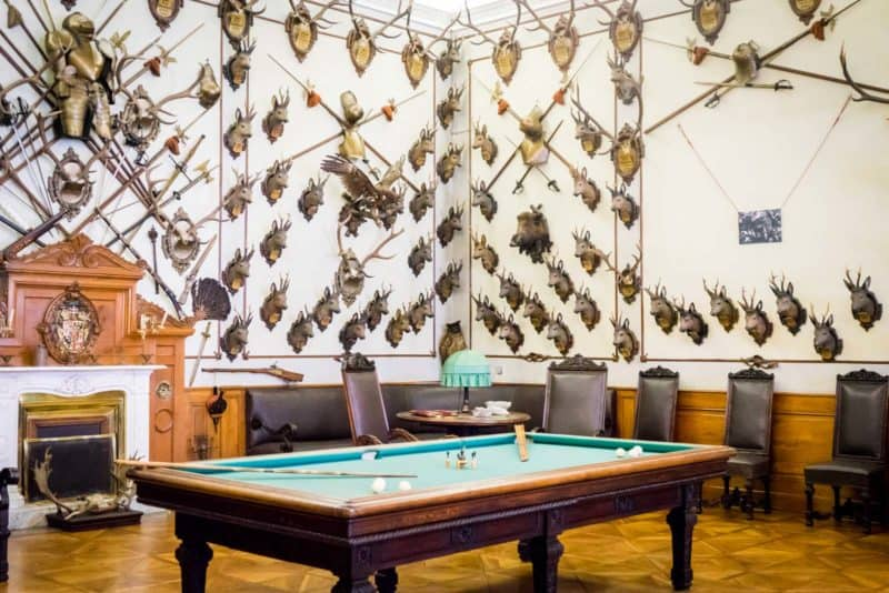 billiard table and antlers mounted on hunting room wall