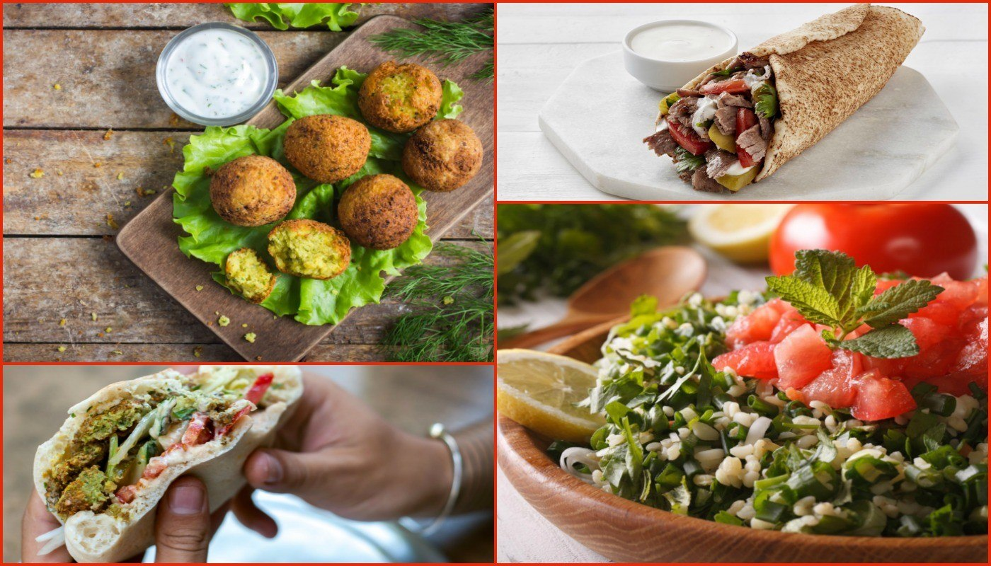 Collage of 4 healthy middle eastern foods on an Arabic food menu