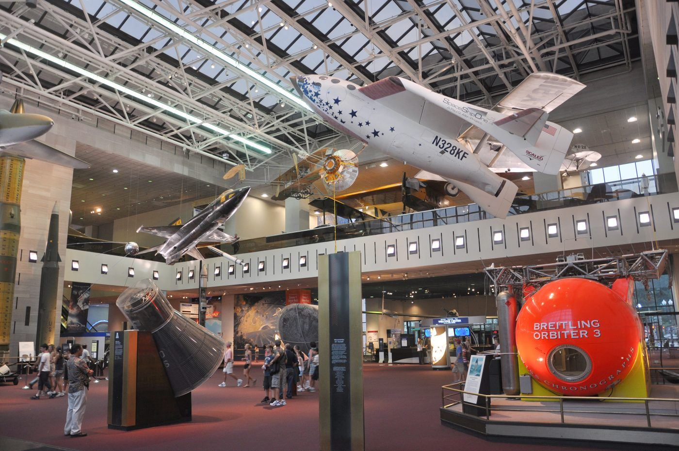 Interior of Air & Space Museum, a top place to visit in D.C. with young kids