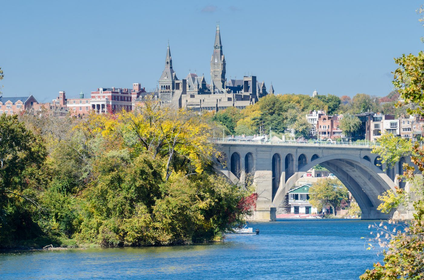 Washington D.C. with young kids - view of Georgetown and Key bridge over the Potomac River in autumn