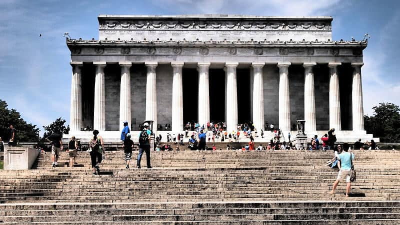 Front of Lincoln Memorial as seen from base of steps