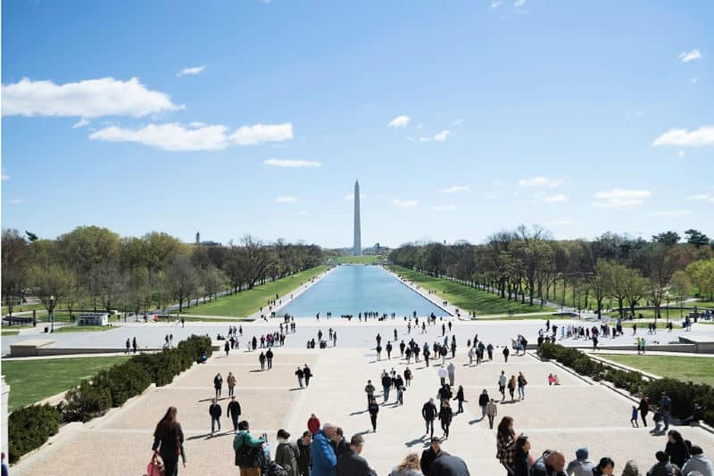 view down the national mall to washington memorial