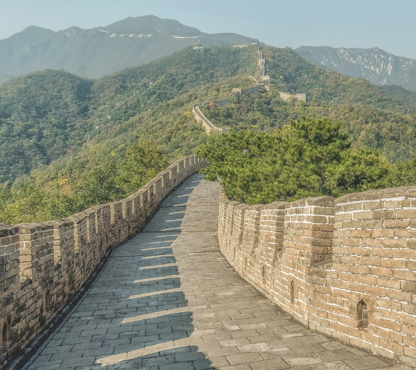 distance view of Great Wall of China as seen from the top