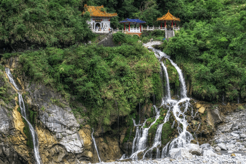 The eternal Spring Shrine at top of a waterfall in Taroko Gorge. This is a must see Taiwan destination