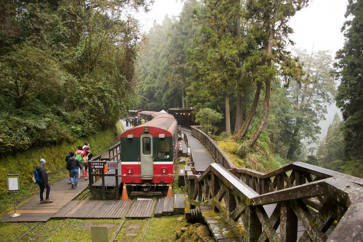 Passengers approach the departure point in Alishan Forest Railway.