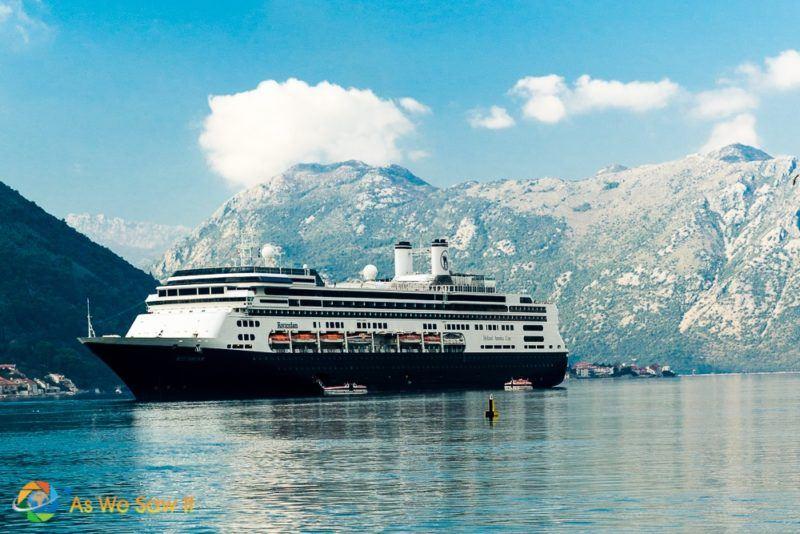Ocean cruise ship in the Bay of Kotor.