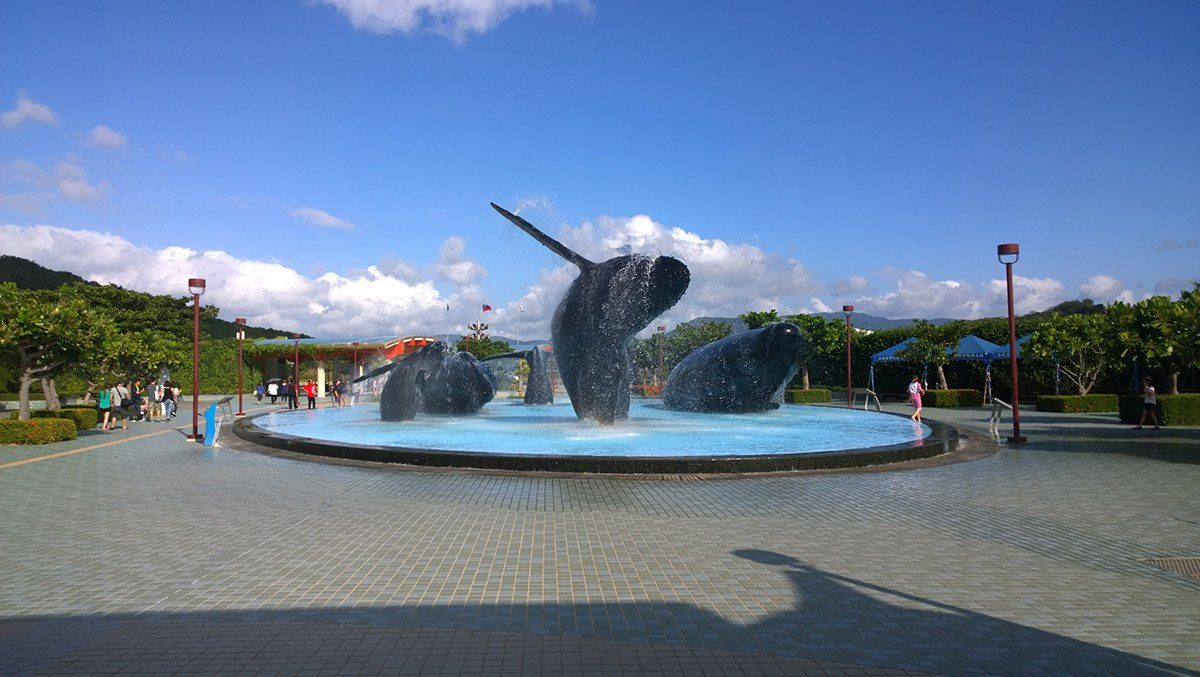 Whale sculptures appear to be jumping out of a fountain at the National Museum of Marine Biology and Aquarium