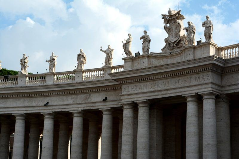 columns and statues, detail of a section of the colonnade around Piazza San Pietro