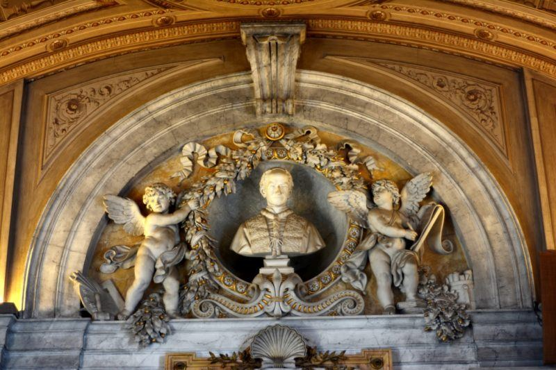 Bust of a pope over a door in the Vaticcan