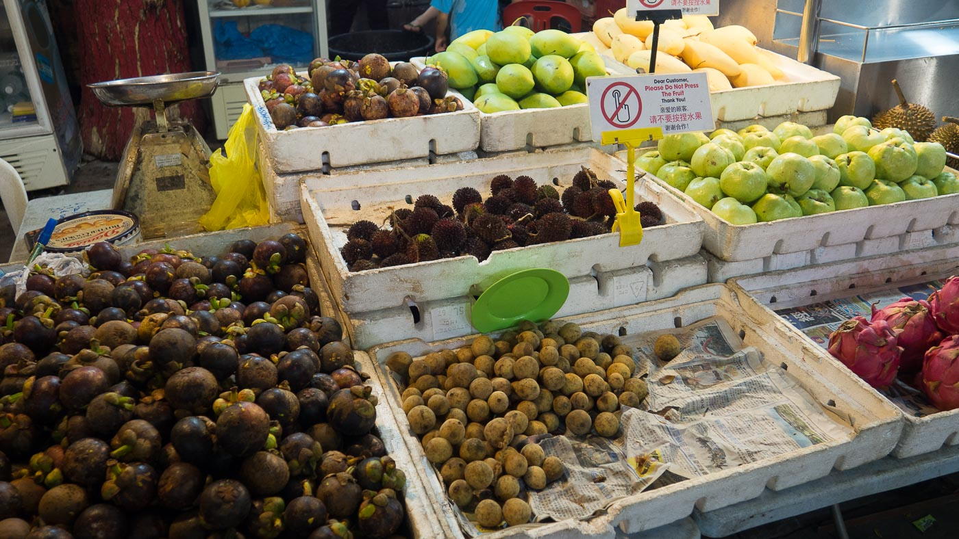 Stall holding various tropical fruits