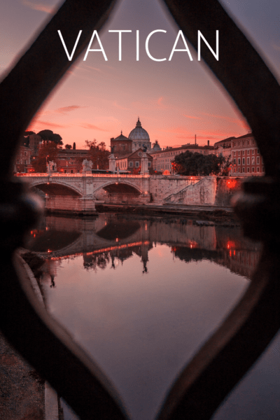 The vatican at sunset text says vatican