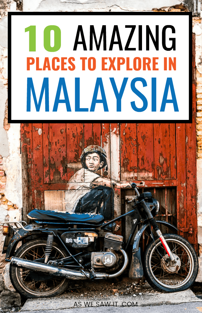 Boy on motorcycle painting from Penang street art with text overlay 10 amazing places to explore in Malaysia